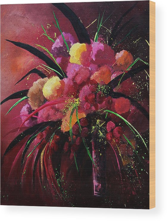 Flowers Wood Print featuring the painting Bunch Of Red Flowers by Pol Ledent