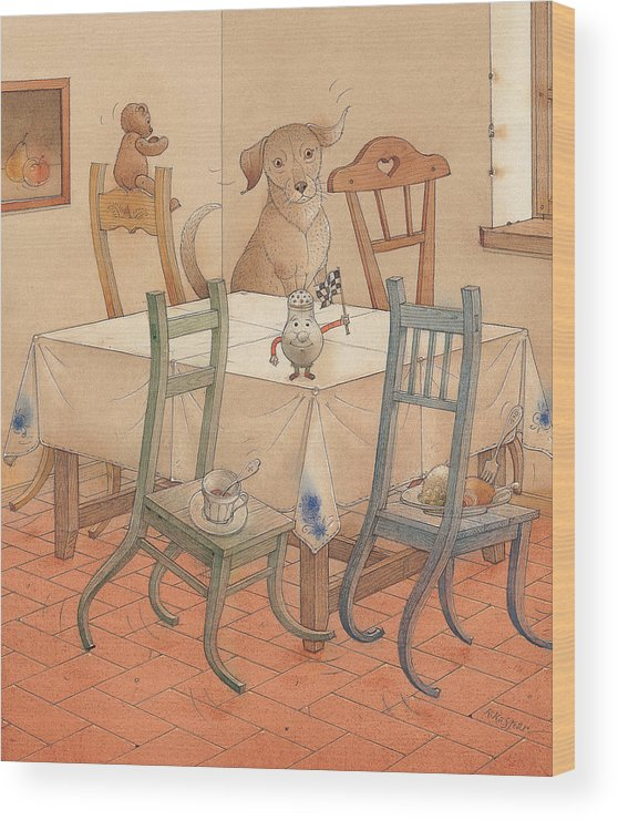 Kitchen Chair Race Dog Wood Print featuring the painting Chair Race by Kestutis Kasparavicius