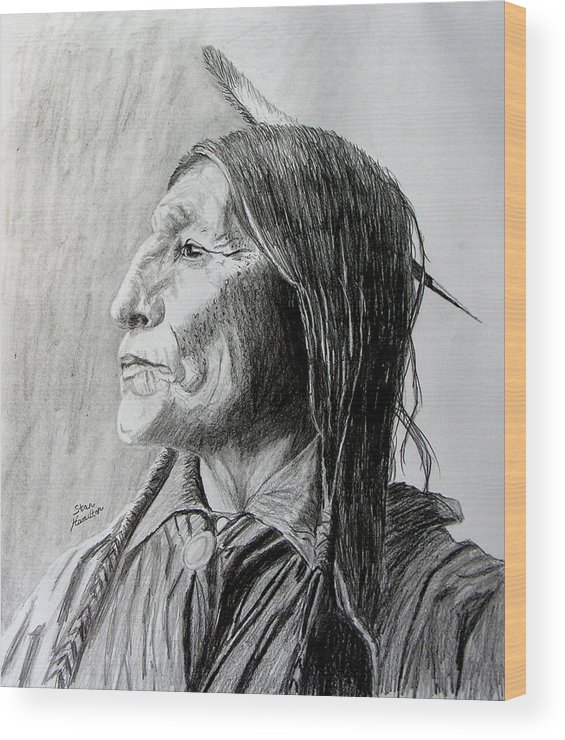 Original Drawing Wood Print featuring the drawing Chief Wolf Robe by Stan Hamilton