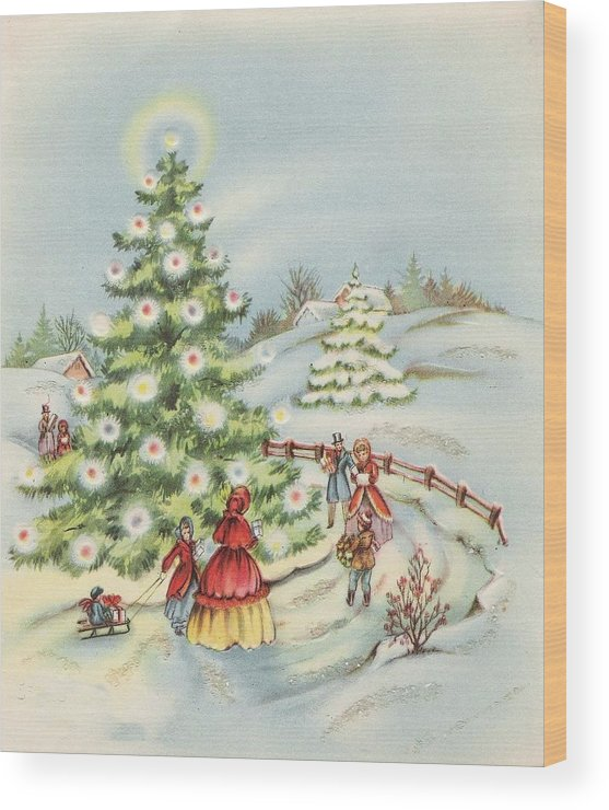 Snowy Winter Evening Wood Print featuring the painting Christmas Illustration 15 - Winter Ladscape During Christmas Time by TUSCAN Afternoon