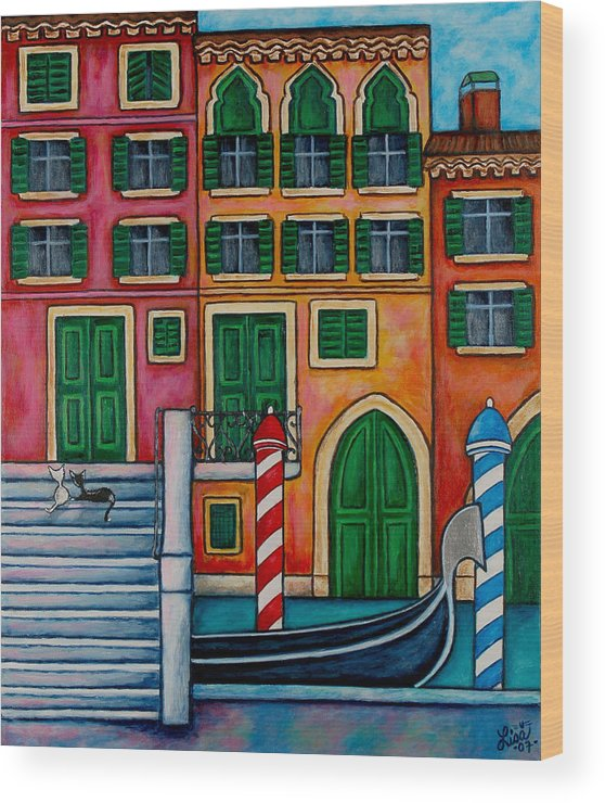 Venice Wood Print featuring the painting Colours Of Venice by Lisa Lorenz