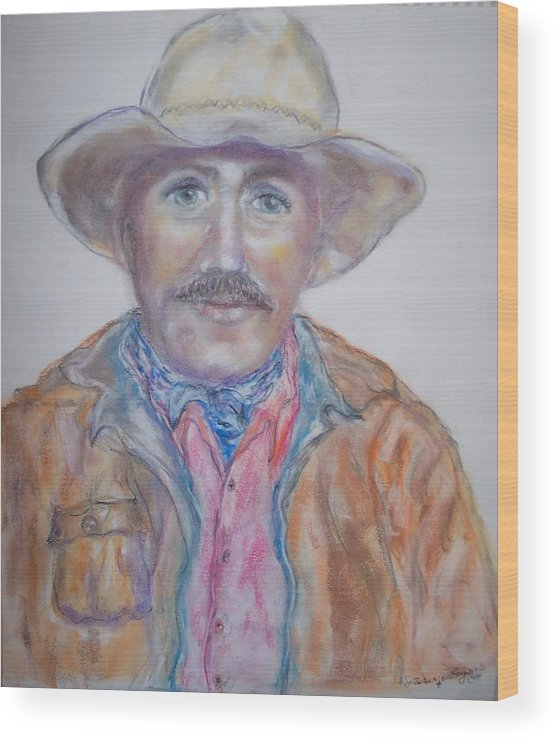 Portrait Of A Cowboy Wood Print featuring the drawing Cowboy Jim by Suzanne Reynolds