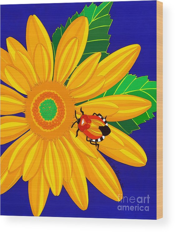 Nature Wood Print featuring the drawing Daisy And Shieldbug by Lucyna A M Green