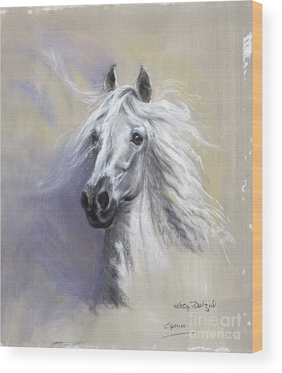 Horse Wood Print featuring the painting Epona by Kathryn Dalziel