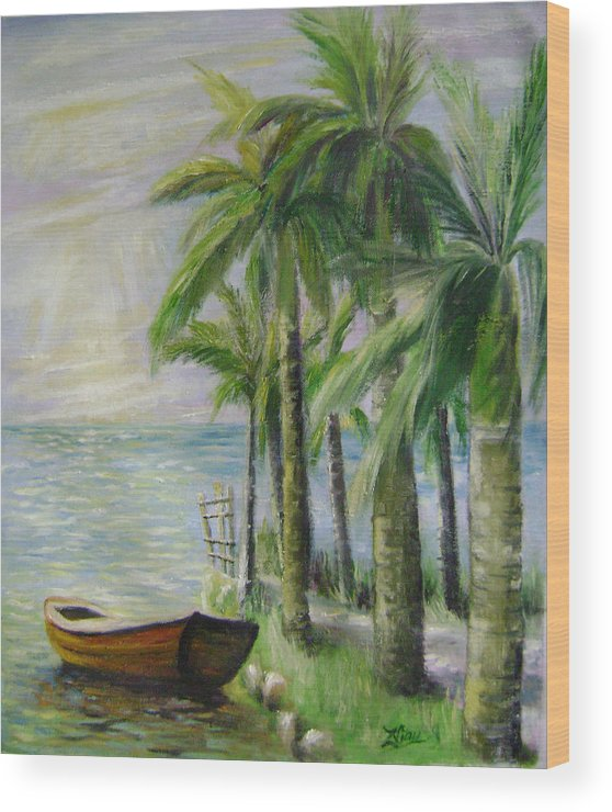 Landscape Wood Print featuring the painting Evening Serenity by Lian Zhen
