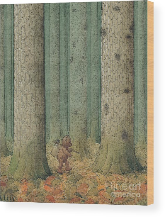 Teddybear Autumn Forest Fairy Tale Tree Melancholic Wood Print featuring the painting Exile by Kestutis Kasparavicius