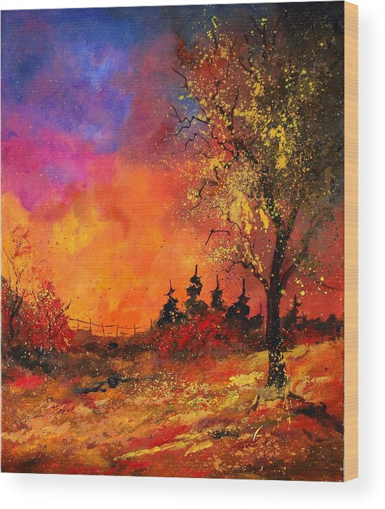 River Wood Print featuring the painting Fall by Pol Ledent