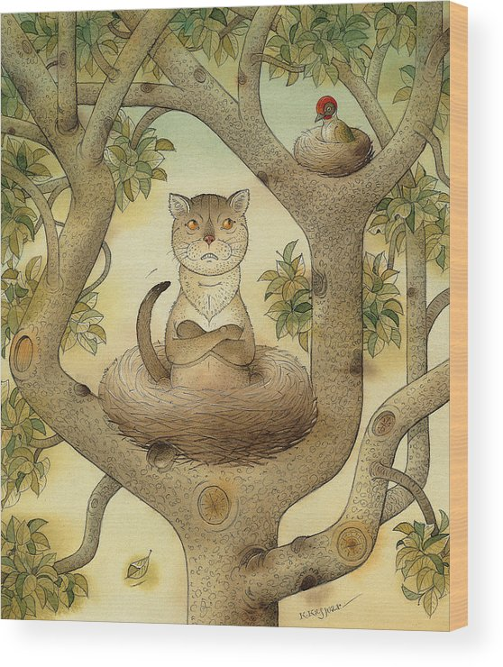 Tree Nest Cat Bird Landscape Sky Wood Print featuring the painting Flying Cat by Kestutis Kasparavicius
