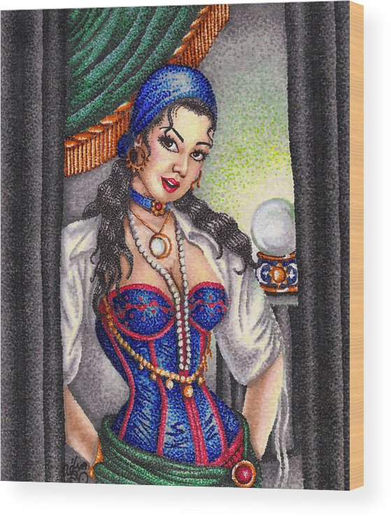 Woman Wood Print featuring the drawing Fortune Teller by Scarlett Royal