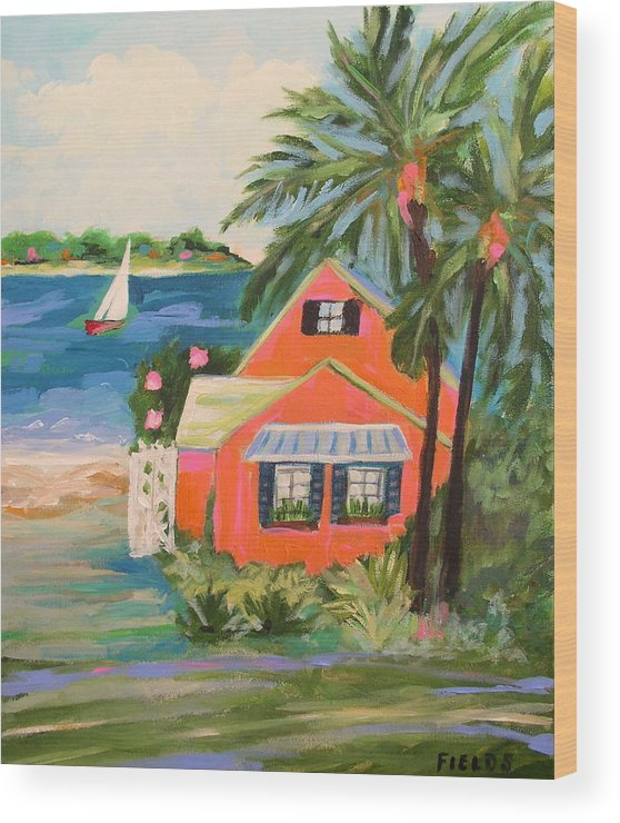 Landscape Wood Print featuring the painting Hibiscus Beach House by Karen Fields