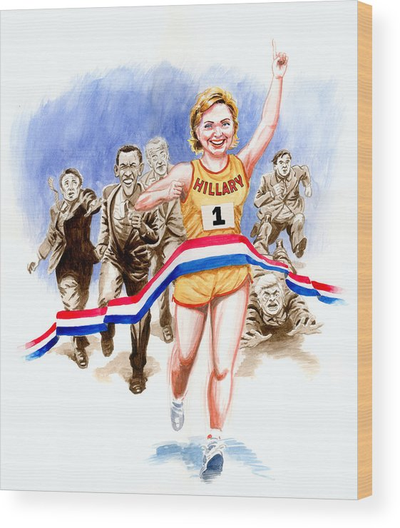 Hillary Clinton Wood Print featuring the painting Hillary And The Race by Ken Meyer