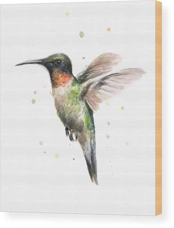 Animal Wood Print featuring the painting Hummingbird by Olga Shvartsur