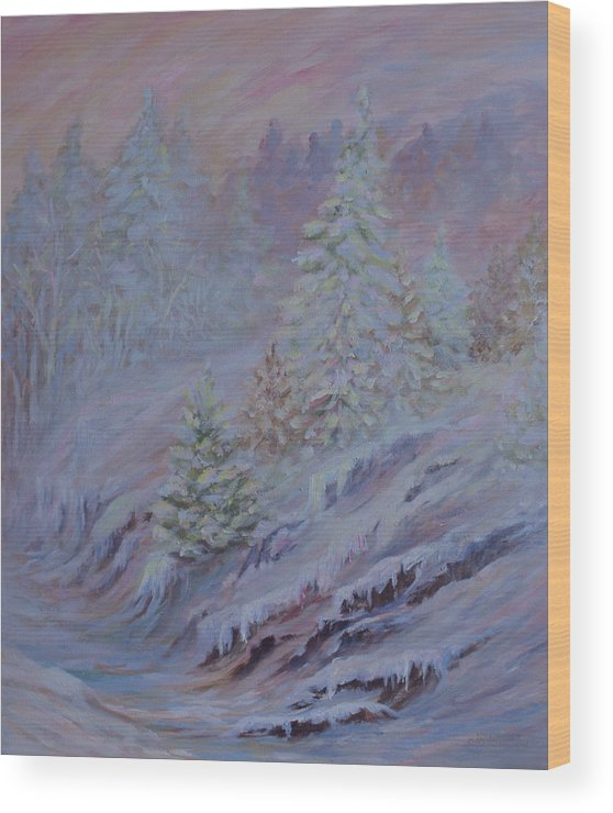 Ice Fog In Northern Landscape Wood Print featuring the painting Ice Fog In The Forest by Joanne Smoley