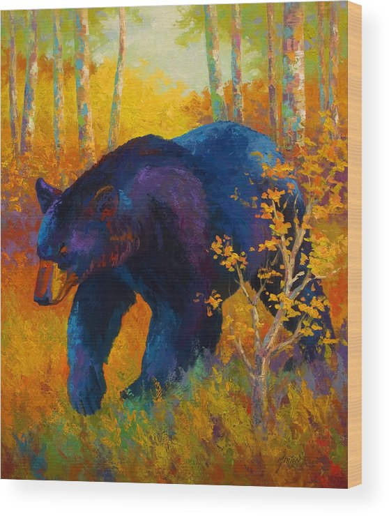 Bear Wood Print featuring the painting In To Spring - Black Bear by Marion Rose