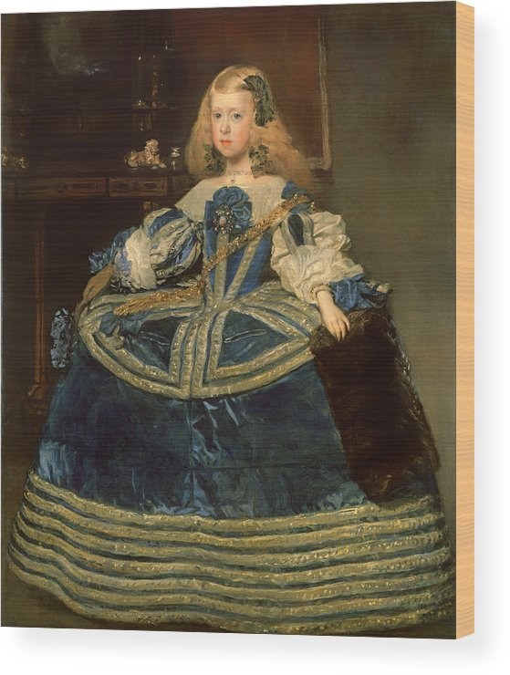 Painting Wood Print featuring the painting Infanta Margarita Teresa In A Blue Dress by Mountain Dreams