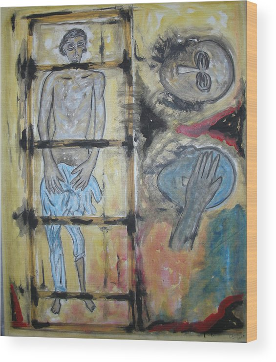 Man Wood Print featuring the painting Inhumanity by Narayanan Ramachandran