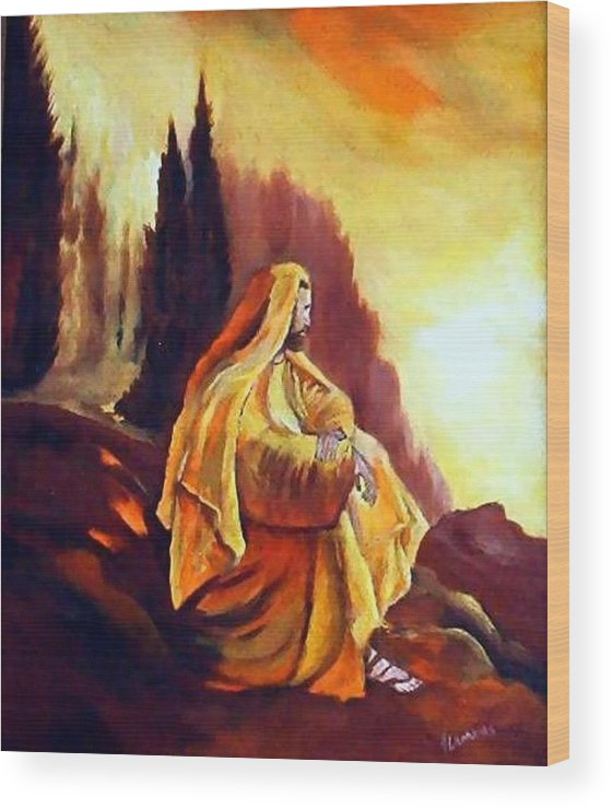 Figurative Wood Print featuring the painting Jesus On The Mountain by Julie Lamons