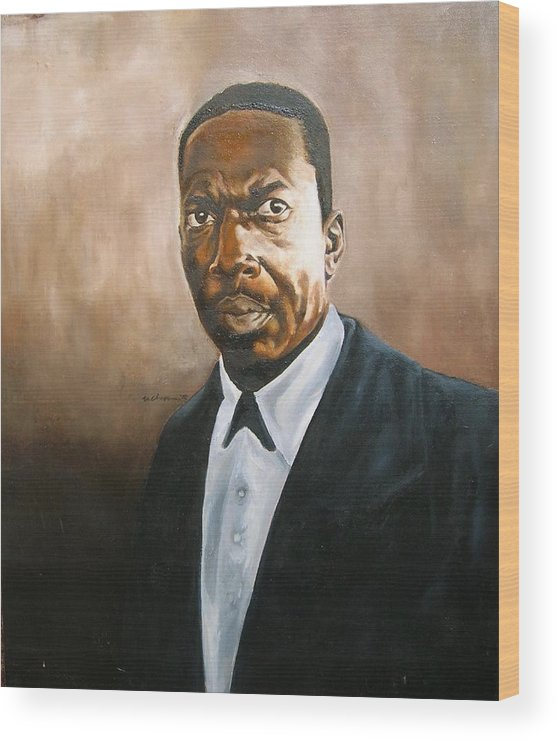 John Coltrane Jazz Portrait Wood Print featuring the painting John Coltrane by Martel Chapman