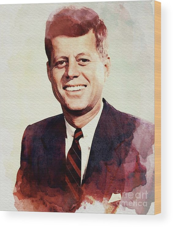 Jfk Wood Print featuring the digital art John F. Kennedy by John Springfield