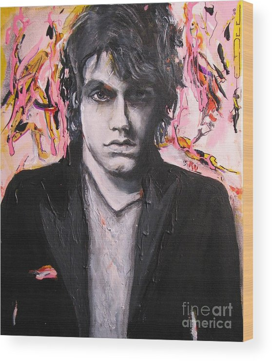 Celebrity Portraits Wood Print featuring the painting John Mayer by Eric Dee