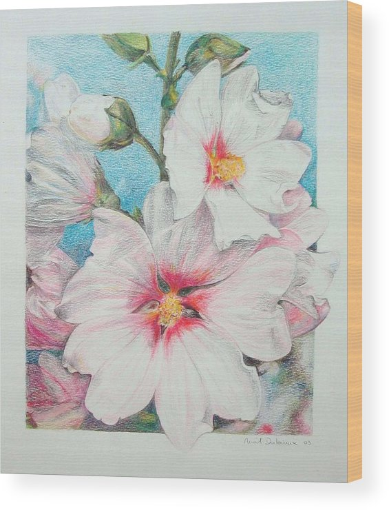 Flower Wood Print featuring the painting Lavater by Muriel Dolemieux