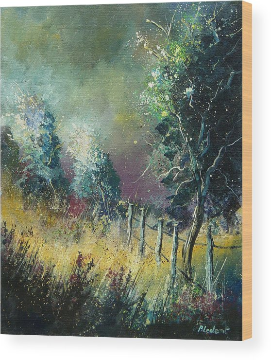 Landscape Wood Print featuring the painting Light On Trees by Pol Ledent