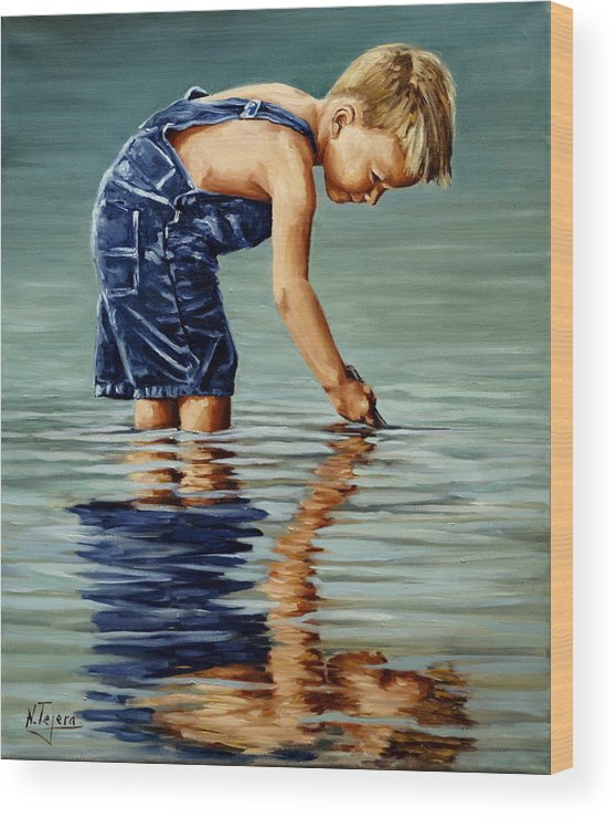 Guy Wood Print featuring the painting Little Boy Reflection by Natalia Tejera