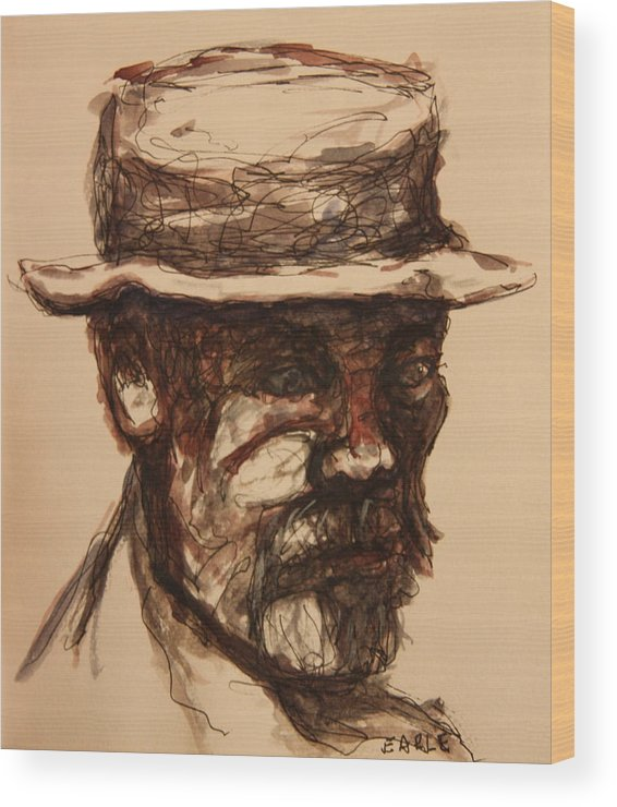 Portrait Wood Print featuring the painting Man On A Park Bench by Dan Earle