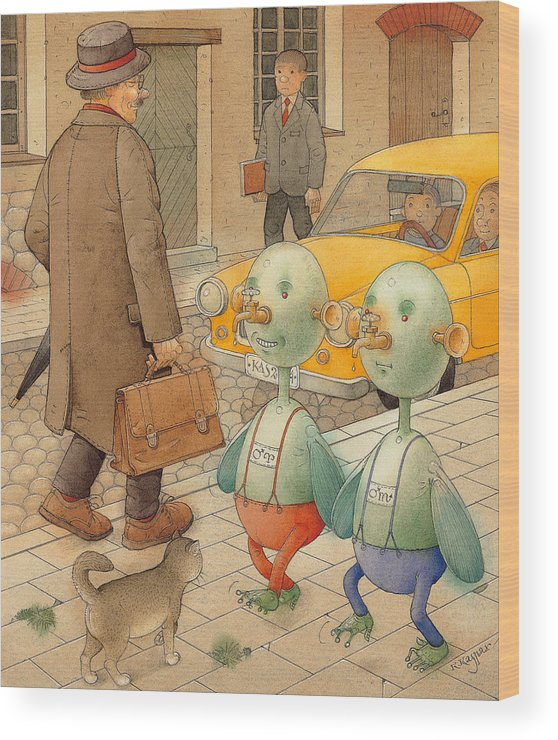 Martians Ufo Cat Street Fantastic Wood Print featuring the painting Martians by Kestutis Kasparavicius