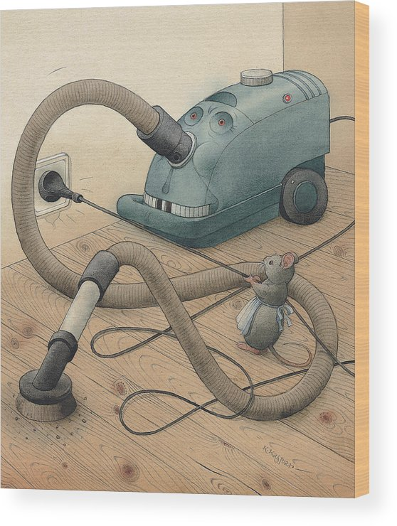 Mice Monster Vacuum-cleaner Brown Wood Print featuring the painting Mice And Monster by Kestutis Kasparavicius