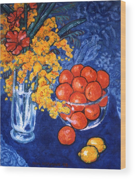 Still Life Wood Print featuring the painting Mimosa And Tangerines by Paul Herman