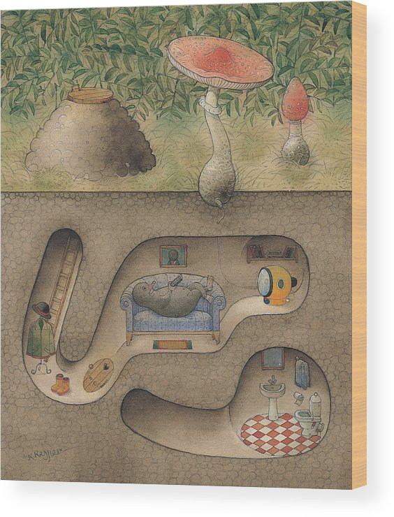 Underground Mole Cellar Tv Agaric Home Relaxation Wood Print featuring the painting Mole by Kestutis Kasparavicius