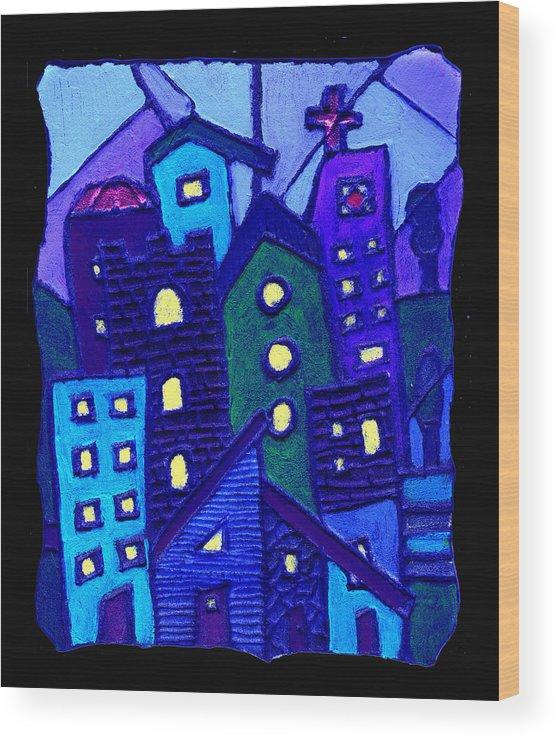 Urban Wood Print featuring the painting Neighborhood Blues by Wayne Potrafka