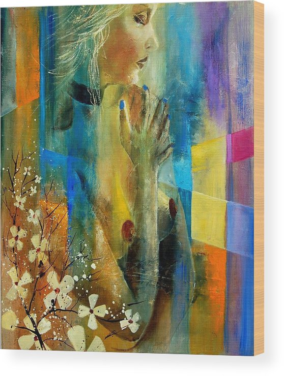 Nude Wood Print featuring the painting Nude 5609082 by Pol Ledent