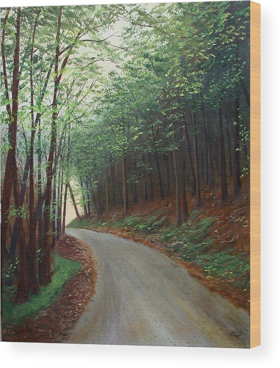 Original Acrylic On Stretched Canvas Landscape Path Forest Trees Wood Print featuring the painting Out Of Darkness by Sharon Steinhaus