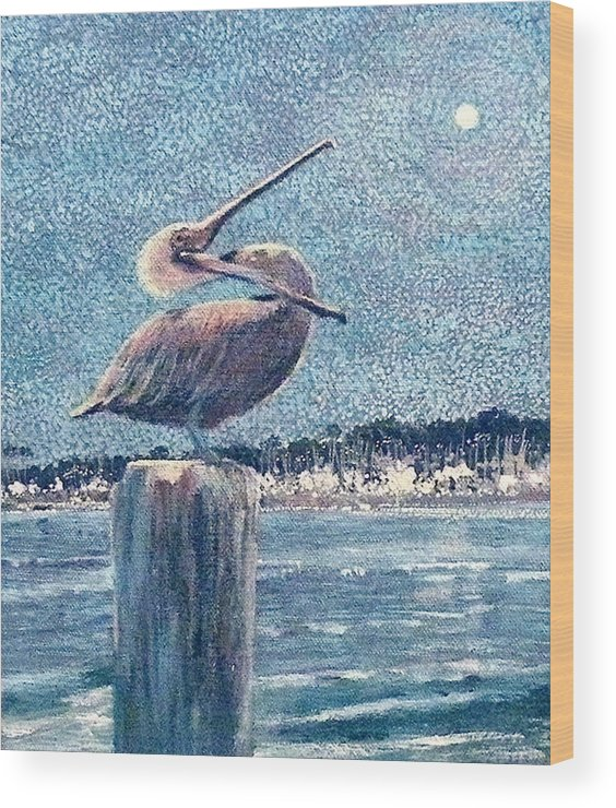 Water Wood Print featuring the painting Pelikan At Night Santa Barbara Harbor by Wendy Hill