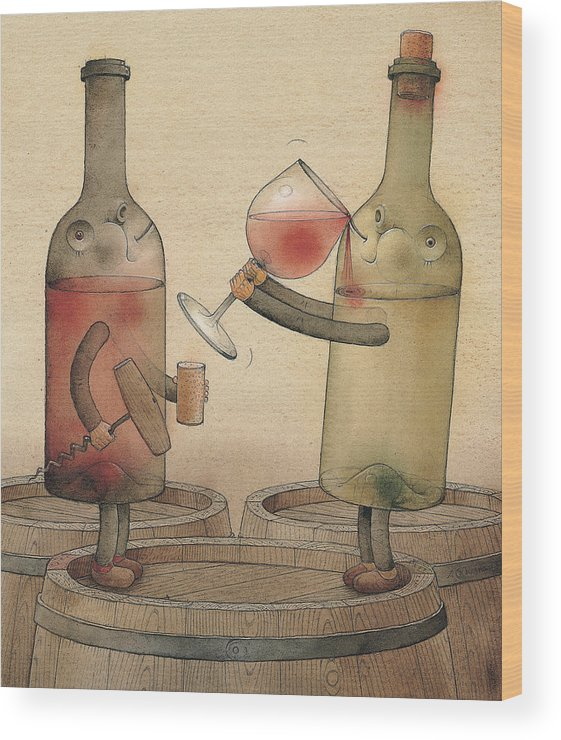 Wine Cellar Red White Wood Print featuring the painting Pinot Noir And Chardonnay by Kestutis Kasparavicius