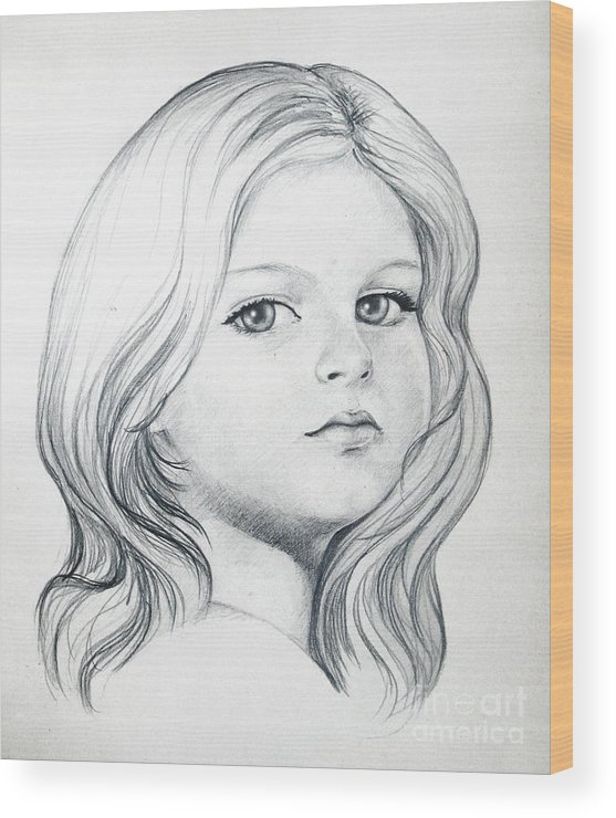 Portrait Girl Pencil Wood Print featuring the drawing Portrait Of A Girl by Stoyanka Ivanova