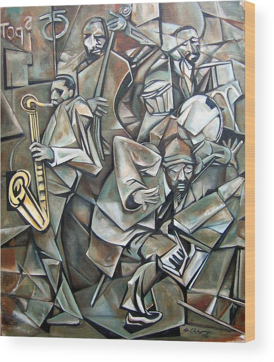 Jazz Quartet Monk Coltrane Wood Print featuring the painting Quartet 1958 by Martel Chapman