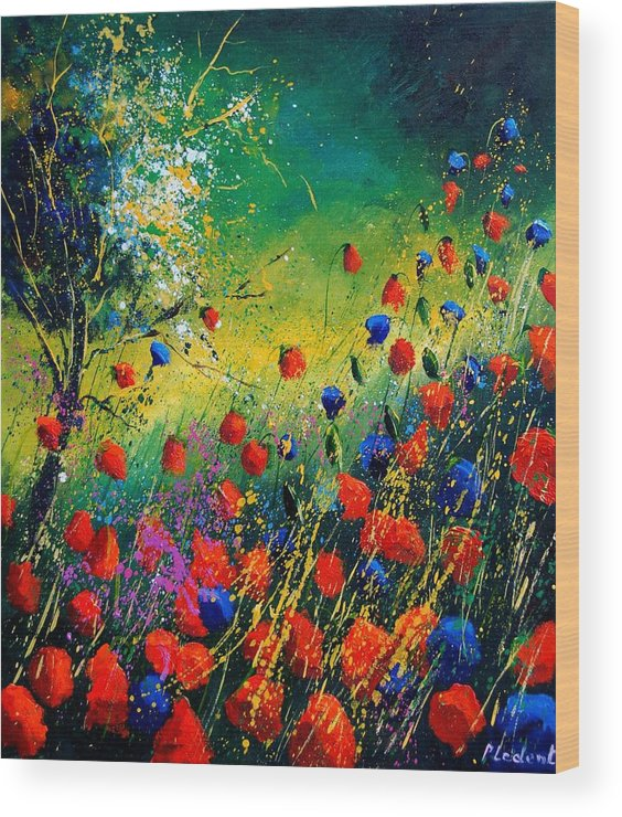 Flowers Wood Print featuring the painting Red And Blue Poppies by Pol Ledent