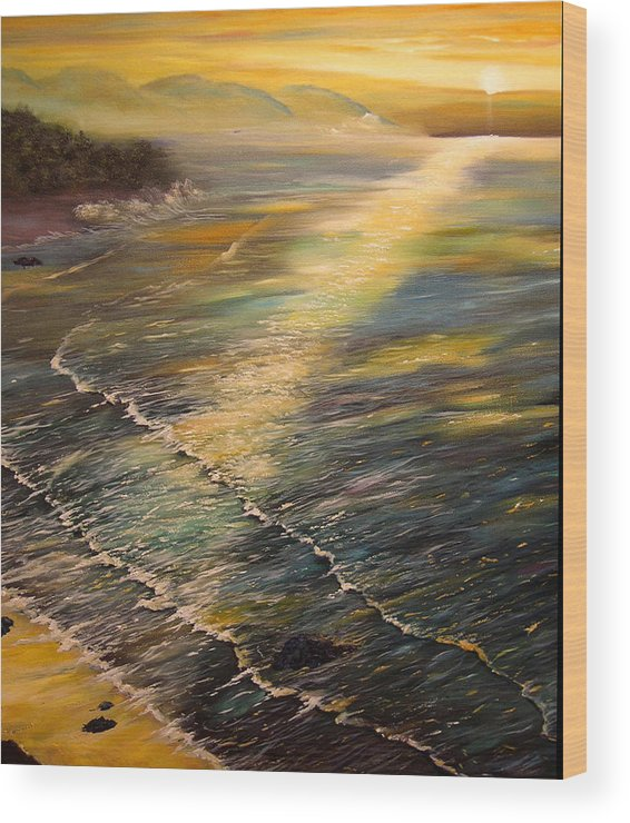 Connie Tom Wood Print featuring the painting Romantic Sunset At Oceanside by Connie Tom