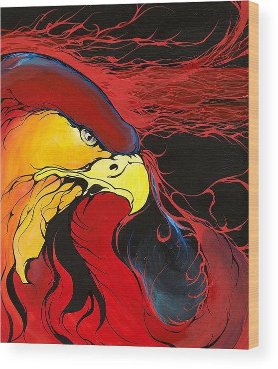 Eagle Wood Print featuring the painting Sacred Eagle by Dallas Poundmaker