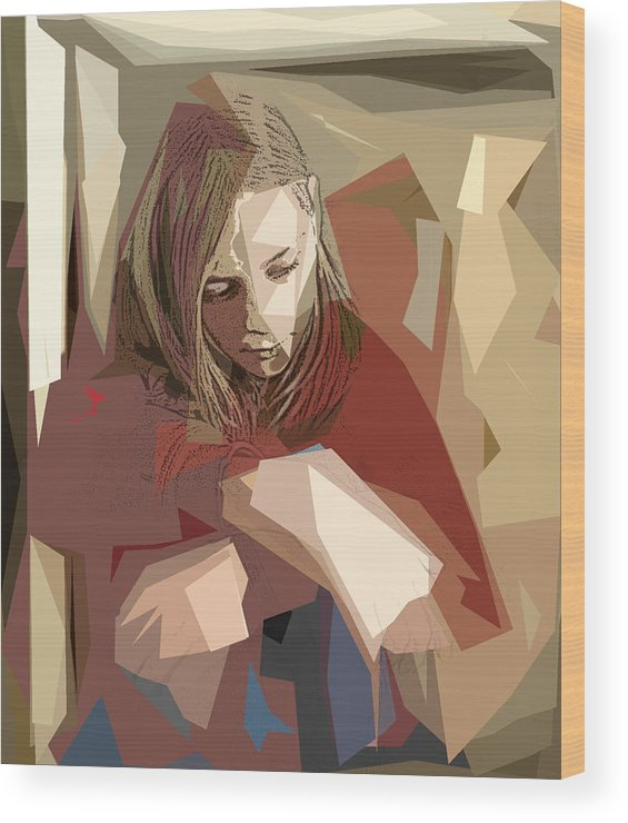 Girl Wood Print featuring the photograph Sadness by Jacqueline Milner