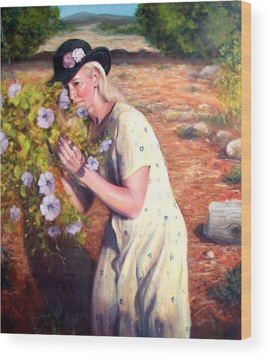 Realism Wood Print featuring the painting Santa Fe Garden 2  by Donelli DiMaria