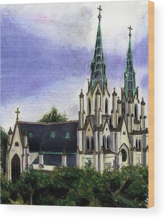 Buildings Wood Print featuring the drawing Savannah Cathedral by Scarlett Royal