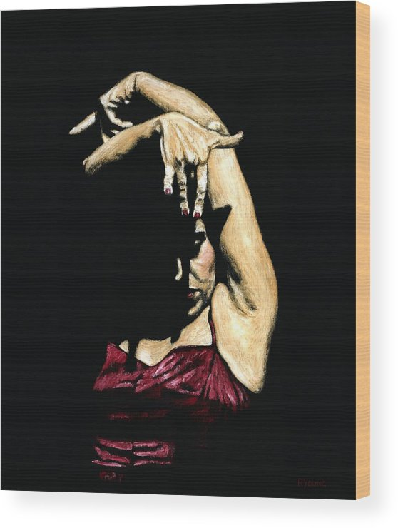 Flamenco Wood Print featuring the painting Seclusion Del Flamenco by Richard Young
