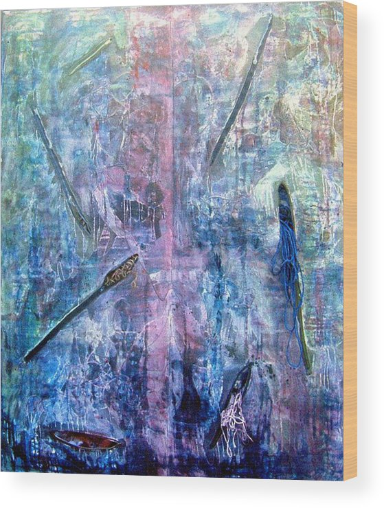 Abstract Wood Print featuring the painting Seven Zippers by Nancy Mueller