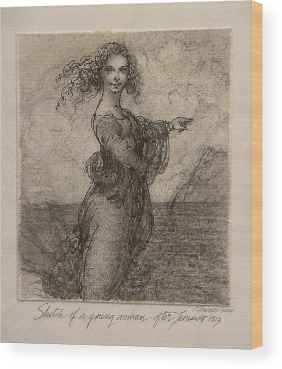 Classic Drawing Wood Print featuring the painting Sketch Of A Young Woman After Leonardo by Gary Kaemmer