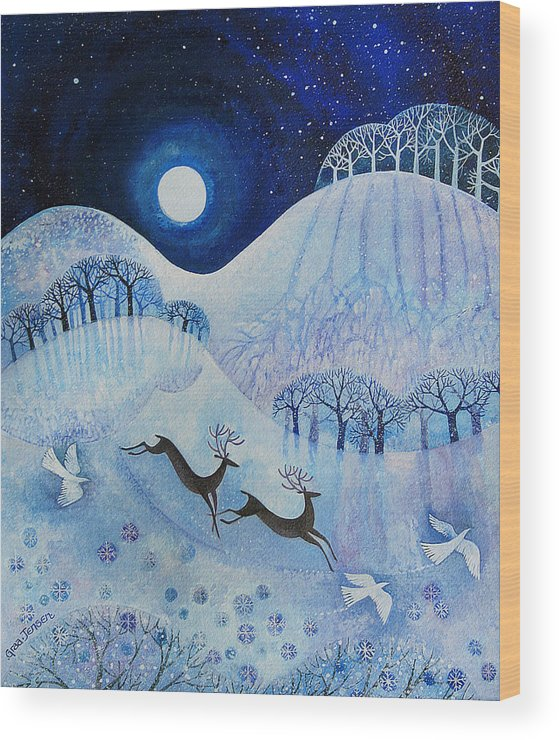 Snowy Wood Print featuring the painting Snowy Peace by Lisa Graa Jensen