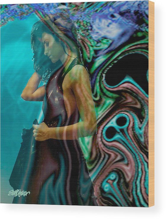 Beautiful Women Wood Print featuring the digital art Spell Of A Woman by Seth Weaver